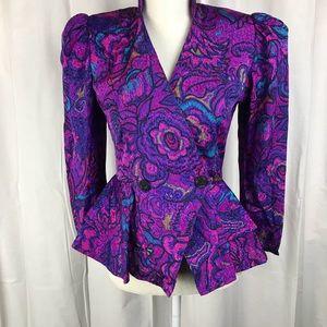 VINTAGE Purple and Pink Print Skirt Set